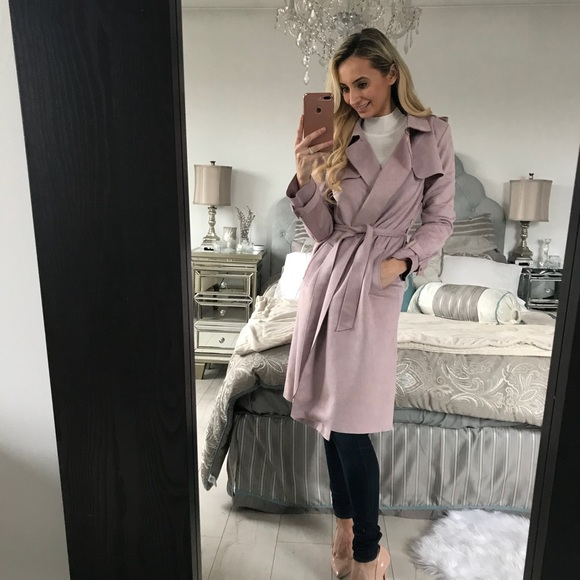 258632f274 Zara Faux Suede Trench Pink Coat NWT